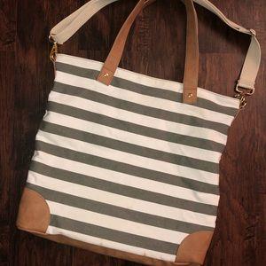 NWOT Medina Grey/ White Stripe Canvas Tote Bag